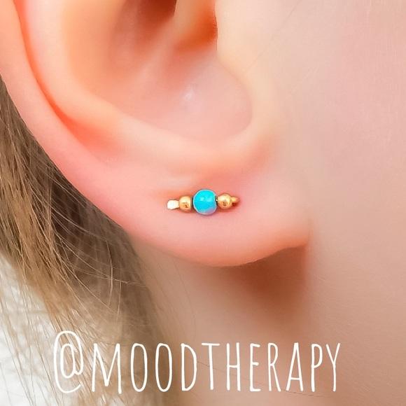 Blue Fire Opal Tiny Ear Pins Ear Crawler Earrings